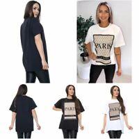 Ladies Womens Paris Printed Short Sleeve Oversized T Shirt Top Tunic Tshirt