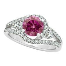 1.25 Ct Fancy Pink Diamond Solitair Ring 14K WG VS2 Valentine Day Spl.Sale