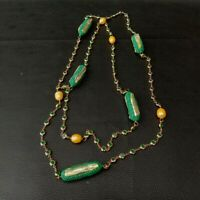 "52"" Cultured Gold Rice pearl Green Biwa Pearl Cz pave chain Long Necklace"