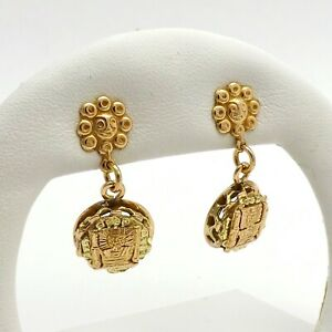 Vintage 18k Rose and Yellow Gold Peruvian Tumi Lucky Dangle Drop Earrings 10gr