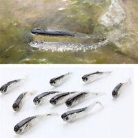10pcs 80mm Soft Silicone Tiddler Bait Fluke Fish Fishing Lure Saltwater Lures H7