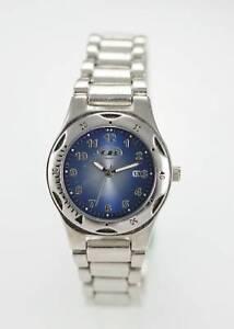 Union Bay Uhr Damen Blau Edelstahl Silber Stahl 30m Datum Batterie Blau Quarz