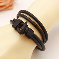 New Fashion Coffee Women Men Multilayer Wrap Leather Surfer Bracelet Bangle Gift