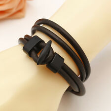 New Fashion Coffee Women Men Multilayer Wrap Leather Surfer Bracelet Bangle Gift