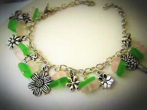 SEA GLASS Floral Charm Bracelet Lightweight & Comfortable HANDMADE Pink Green