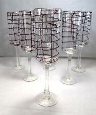 Set 6 Italian Hand Blown w/ Applied Design Clear & Purple Cylinder Wine Glasses