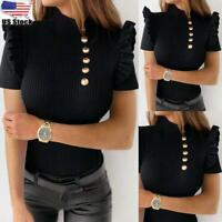 Womens Ribbed Knit Turtle Neck Short Sleeve Tops Button Ruffle Slim Fit Blouse