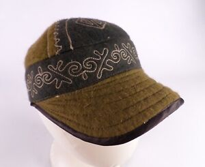 Wool Hat Cap Patchwork Embroidered Green