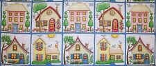 MARY ENGELBREIT ROW HOUSES HOME QUILT COTTON FABRIC PANEL 2 ROWS 20 BLOCKS