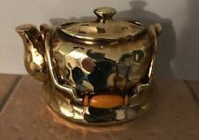Vintage Enesco Wall Pocket Teapot Gold Luster Scarce B15
