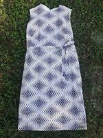 VTG 60s Day Dress Tea Dress Black White Sleeveless Pencil Belted Shift SZ S-M