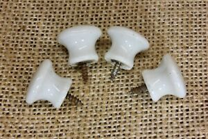 """4 old Cabinet knobs door 5/8"""" pulls white porcelain 1800's vintage rustic small"""