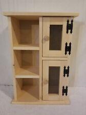 """Pine 2 door, 3 shelf Wood Cabinet. Measures 17 1/2"""" x 9"""" x 25 1/2"""" tall"""