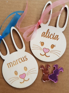 Wooden Personalised Bunny Name Tags