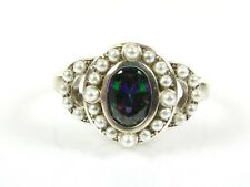 .50ct Mystic Stone & Seed Pearl Victorian Art Deco Sterling Filigree Ring 104a