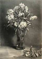 Jules LAURENS (1825-1901) GIROFLEE et CHRYSANTHEMES lithographie  C 1876
