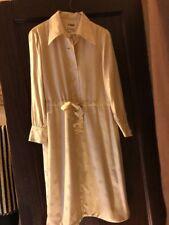 Casi Womens Vtg 60s  Hong Kong Made Silk Tan Long -Sleeve  Dress Sz-14