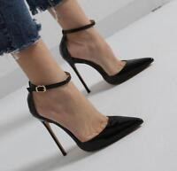 Sexy Womens Pointed Toe Patent Leather Ankle Strap Buckle Stilettos Sandals J229