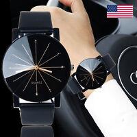 Luxury Mens Black Dial Leather Stainless Steel Military Sport Quartz Wrist Watch