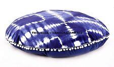 """Tie Dye Shibori Round Floor Pillow Indigo Blue Cushions Pouf Pom Lace Decor 32"""""""