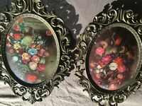 Lovely Pair Eglomise Oval Paintings Still life with Flowers Made in Italy,MB259
