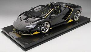 1/12 scale Looksmart Lamborghini Centenario Roadster Black  Carbon Fiber Base