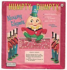 """1959 Vintage - Humpty Dumpty Nursery Rhymes #517 - Peter Pan Records 78 rpm 7"""""""