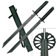 Twin Ninja Swords-Two-Piece Set and Nylon Sheath-Black, 28-Inch Overall-Hk-6183