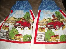 Hanging Kitchen Dish Hand Towels Blue Fabric Top Red Truck Farm