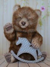Bruno baby brown bear teddy horse decoupage, gift, Realistic 7 in OOAK