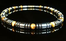 "Hematite Necklace Tiger Eye Surfer Unisex 18"" Chunky Choker Non Magnetic"