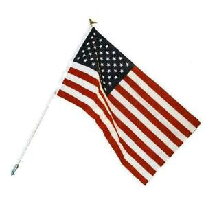 2.5 X 3 Foot Polycotton US American Flag Kit with 6 Foot Steel Pole and Bracket