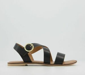 Womens Office Splendid Cross Strap Sandals Black Leather Sandals