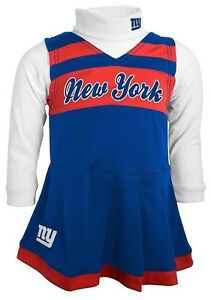 $40 Baby Toddler New York Giants Cheerleader Jumper Set, outfit, Blue Red, Dress