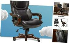 Big And Tall Executive Office Chair With Wood Accents Adjustable High Back