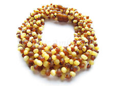 Amber Wholesale, Lot of 10 Cognac And Mat Color Raw Baltic Amber Baby Necklaces