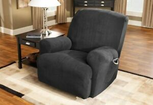 NEW Sure Fit Stretch Pique Recliner chair Slipcover black waffle weave