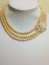Bridal pearl 3strand choker necklace  with rose gold rhinestone