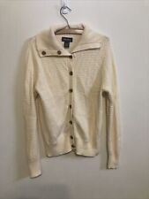 Eddie Bauer Cream Angora Wool Cardigan Cable Knit Full Button Sweater Sz L Euc