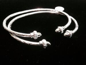 Pair Of Handmade West Indian Sterling Silver Bangles