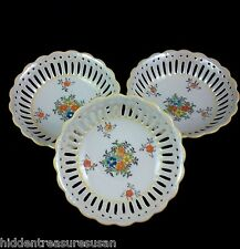 Vintage Reticulated Japan Coronation Ware Dishes lot of 3 Floral Luster