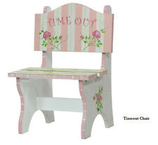 Child Childrens  Girls Pink & White Cracked Rose Princess Time Out  Wooden Chair