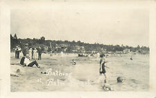 ONTARIO CANADA BATHING AT BALM BEACH OLD REAL PHOTO POSTCARD VIEW