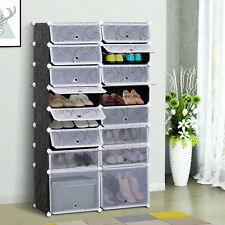 HOMCOM Large 16-Cube DIY Shoes Rack Portable Interlocking Plastic Cabinet