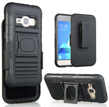 BLACK GRIP RING CASE BELT CLIP HOLSTER STAND FOR SAMSUNG GALAXY AMP-2, EXPRESS-3