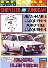 DECAL CHRYSLER SUNBEAM J-M. JACQUEMIN TOUR DE CORSE 1978 13rd (06)