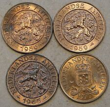 Netherland Antilles 2+1/2 Cents 1956,59,65 Fish,+70 Unc-BU as Pictured