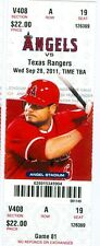 2011 Angels vs Rangers Ticket: Mike Napoli 2 HRs/Efren Navarro 1st MLB Hit
