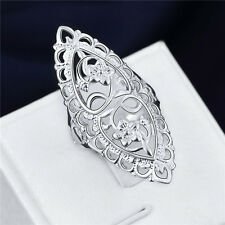 beautiful lovely 925 sterling Silver Wedding Flower retro women Ring jewelry