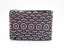 Seed Bead Purse with Pink and Black Circle Design, 9cm x 13cm